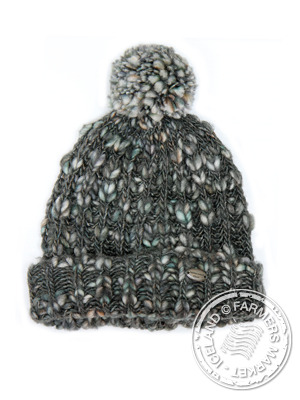 HLIDARENDI HAT WITH POMPOM 425 OCEAN TWEED